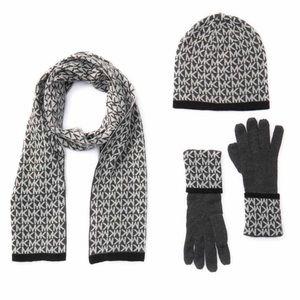 Michael Kors Logo Muffler, Hat & Gloves Gift Set